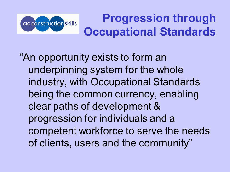 Progression through Occupational Standards An opportunity exists to form an underpinning system for the whole industry, with Occupational Standards be