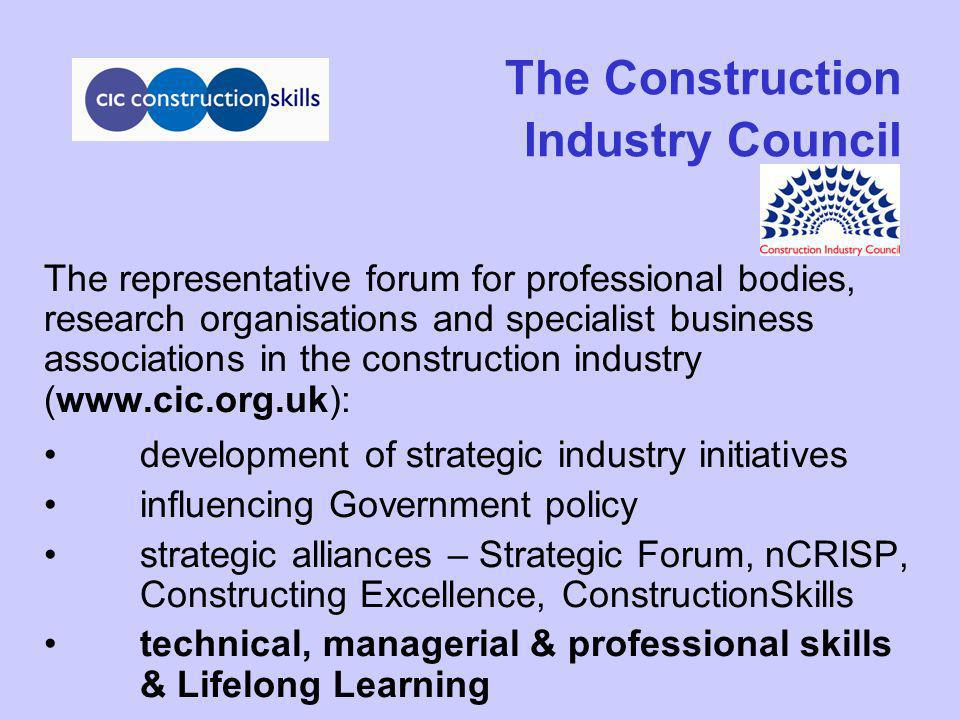 CIC ConstructionSkills Qualifying the Workforce & Continuing Development (1) Management & updating of Built Environment higher level Occupational Standards & NVQ/SVQ Framework to reflect industry needs Develop international benchmarking of Built Environment higher level Occupational Standards Working to align an all-embracing Sector Qualification Strategy with the QCA Framework for Achievement, QAA/HEFC and European Qualifications Framework Work with CITB & others to promote changes to industry demand-led education funding