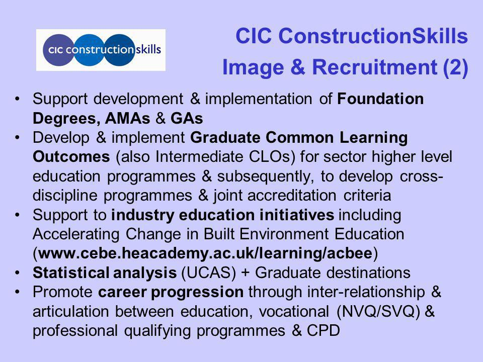 CIC ConstructionSkills Image & Recruitment (2) Support development & implementation of Foundation Degrees, AMAs & GAs Develop & implement Graduate Com