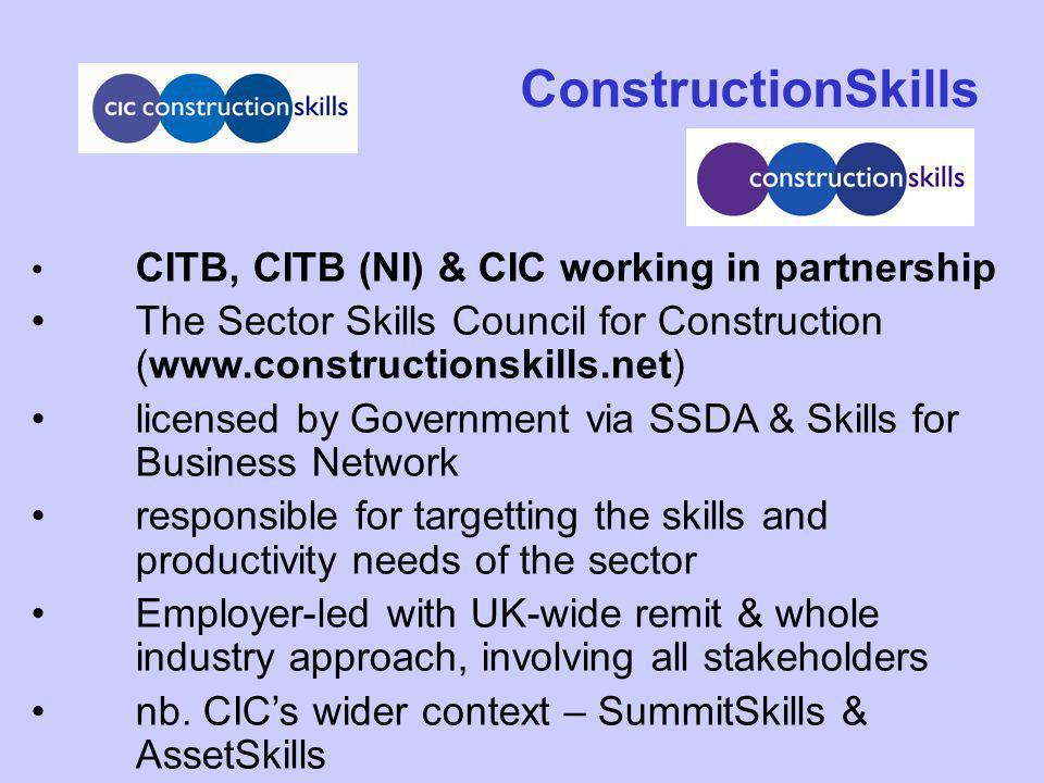 CITB, CITB (NI) & CIC working in partnership The Sector Skills Council for Construction (www.constructionskills.net) licensed by Government via SSDA &