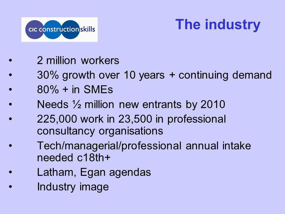 The industry 2 million workers 30% growth over 10 years + continuing demand 80% + in SMEs Needs ½ million new entrants by 2010 225,000 work in 23,500