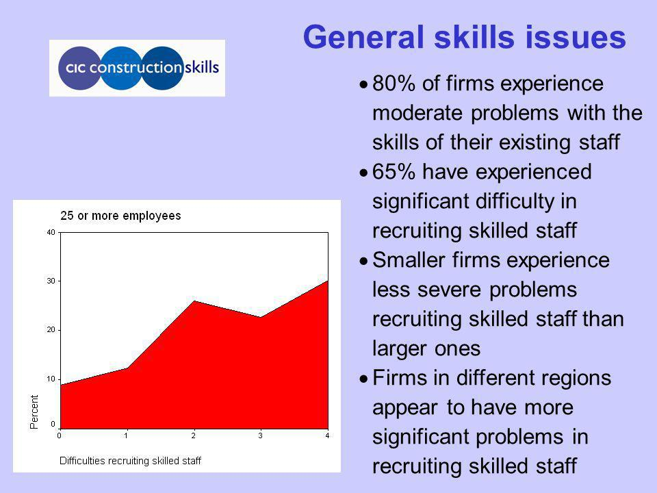 General skills issues 80% of firms experience moderate problems with the skills of their existing staff 65% have experienced significant difficulty in recruiting skilled staff Smaller firms experience less severe problems recruiting skilled staff than larger ones Firms in different regions appear to have more significant problems in recruiting skilled staff