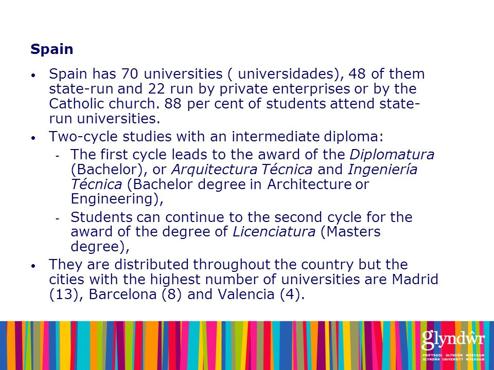 Spain Spain has 70 universities ( universidades), 48 of them state-run and 22 run by private enterprises or by the Catholic church. 88 per cent of stu