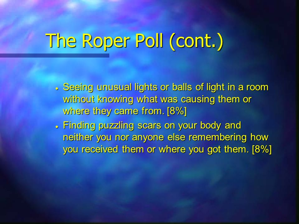 The Roper Poll (cont.) Seeing unusual lights or balls of light in a room without knowing what was causing them or where they came from. [8%] Seeing un