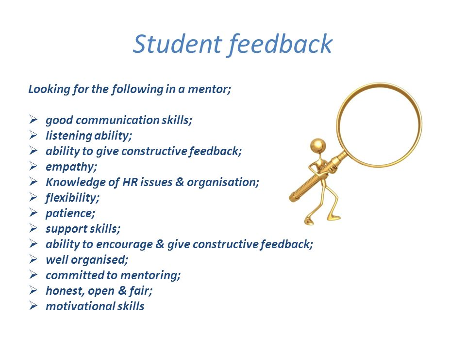 Student feedback Looking for the following in a mentor; good communication skills; listening ability; ability to give constructive feedback; empathy; Knowledge of HR issues & organisation; flexibility; patience; support skills; ability to encourage & give constructive feedback; well organised; committed to mentoring; honest, open & fair; motivational skills