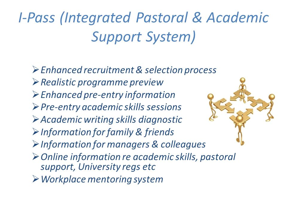 I-Pass (Integrated Pastoral & Academic Support System) Enhanced recruitment & selection process Realistic programme preview Enhanced pre-entry information Pre-entry academic skills sessions Academic writing skills diagnostic Information for family & friends Information for managers & colleagues Online information re academic skills, pastoral support, University regs etc Workplace mentoring system