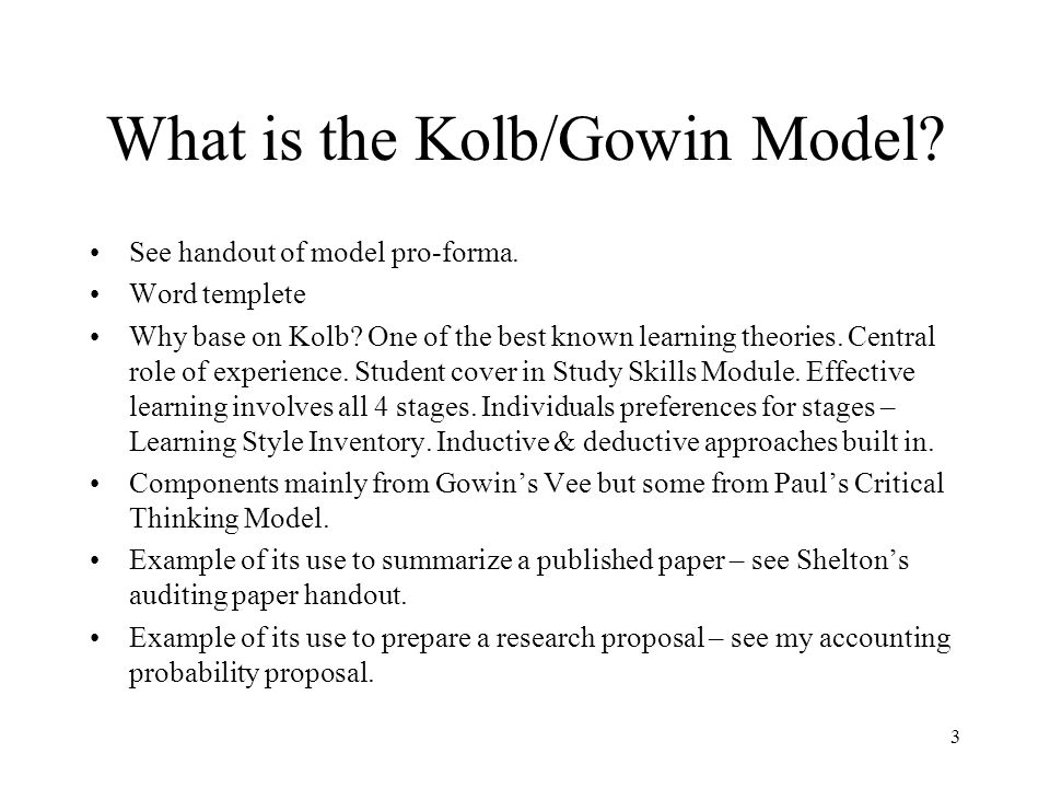 Introducing Kolbs Experiential Learning Theory Covered in first year skills modules.