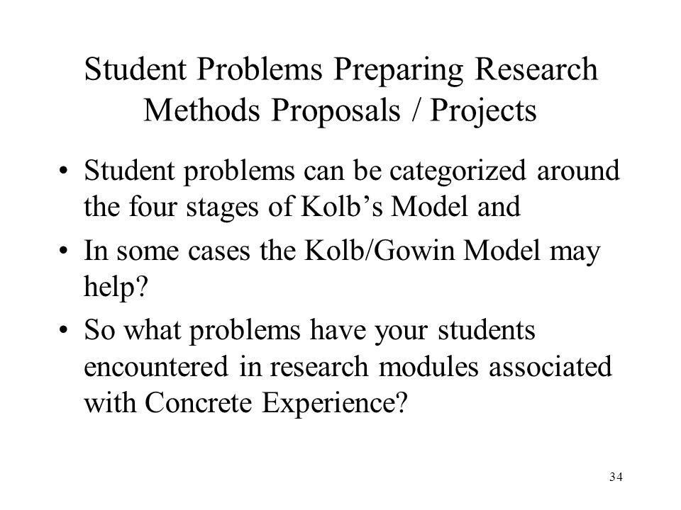 Student Problems Preparing Research Methods Proposals / Projects Student problems can be categorized around the four stages of Kolbs Model and In some
