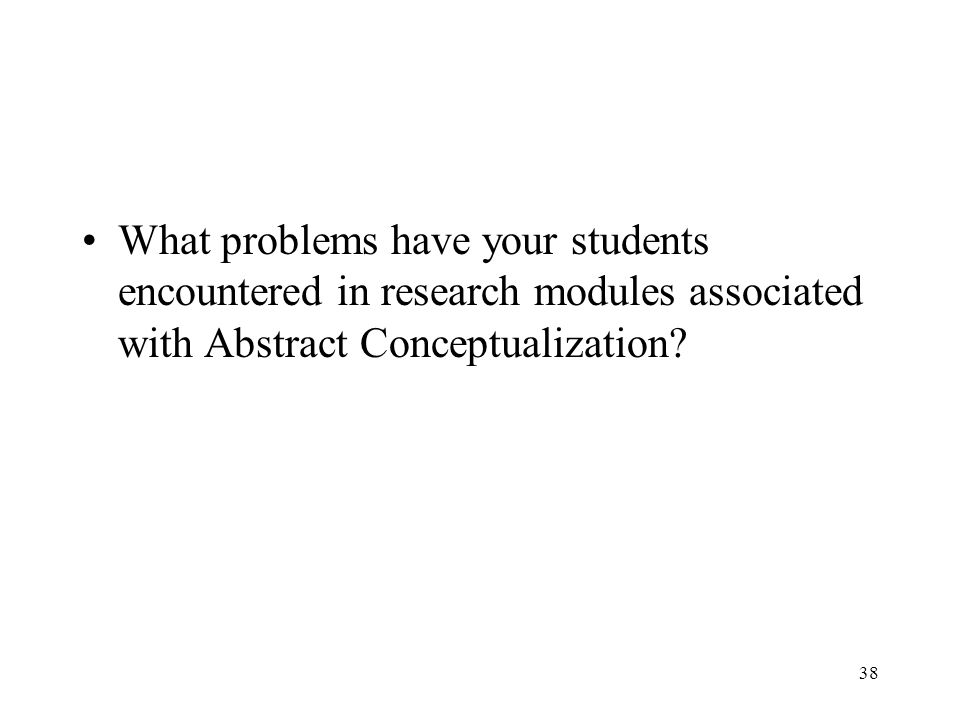 What problems have your students encountered in research modules associated with Abstract Conceptualization? 38