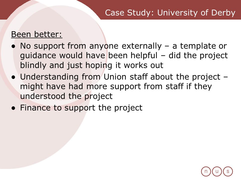 Case Study: University of Derby Been better: No support from anyone externally – a template or guidance would have been helpful – did the project blindly and just hoping it works out Understanding from Union staff about the project – might have had more support from staff if they understood the project Finance to support the project