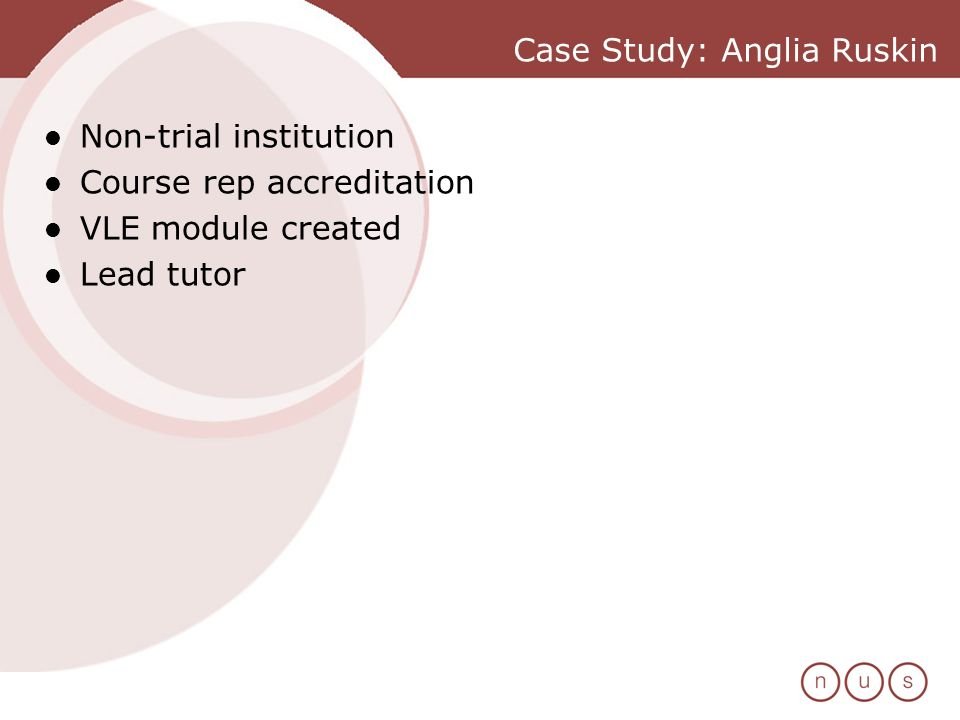 Case Study: Anglia Ruskin Non-trial institution Course rep accreditation VLE module created Lead tutor