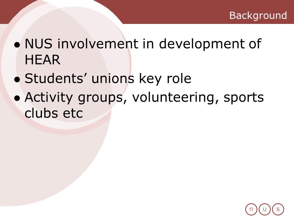 Background NUS involvement in development of HEAR Students unions key role Activity groups, volunteering, sports clubs etc