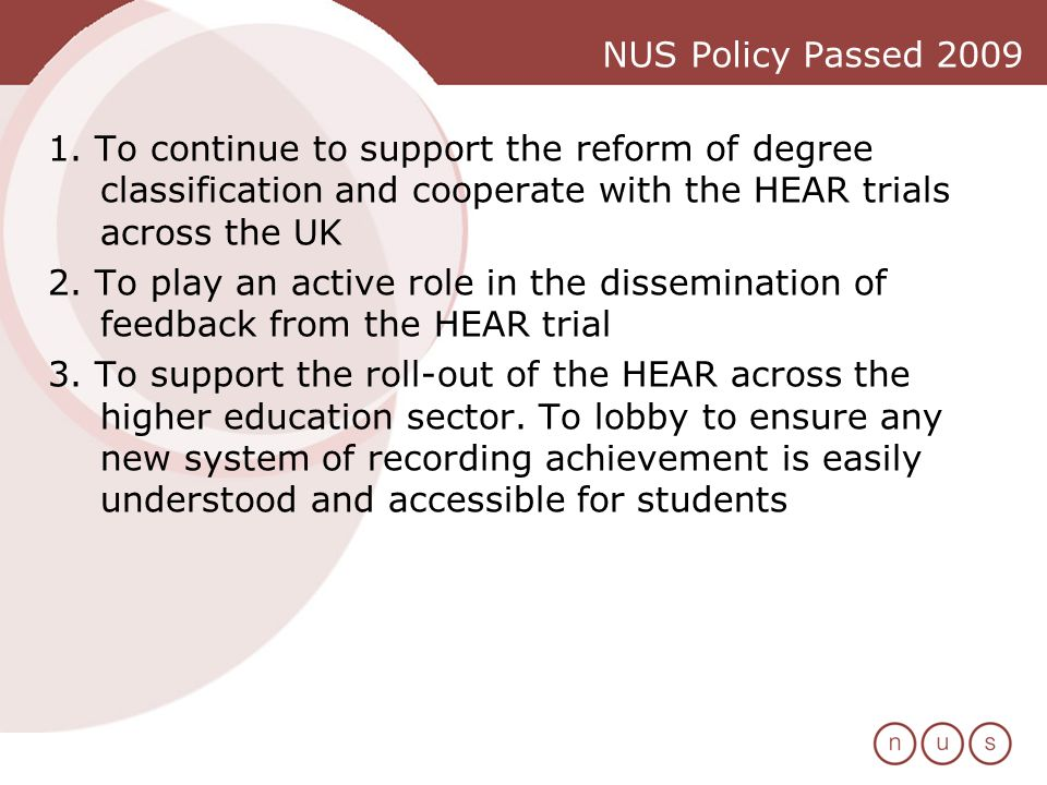 NUS Policy Passed