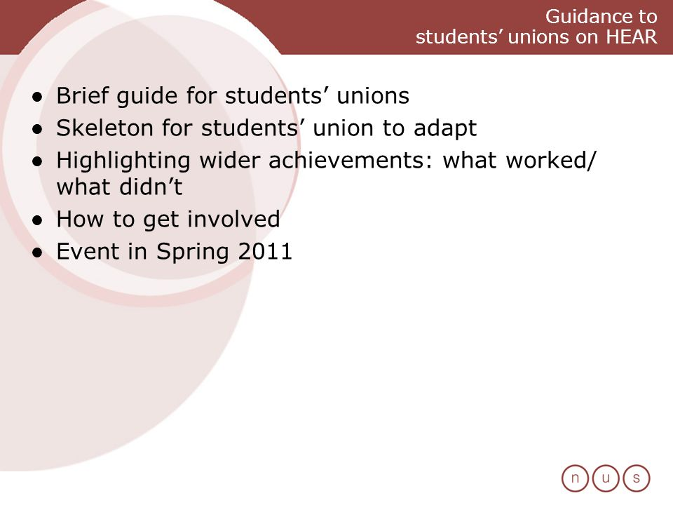 Guidance to students unions on HEAR Brief guide for students unions Skeleton for students union to adapt Highlighting wider achievements: what worked/ what didnt How to get involved Event in Spring 2011