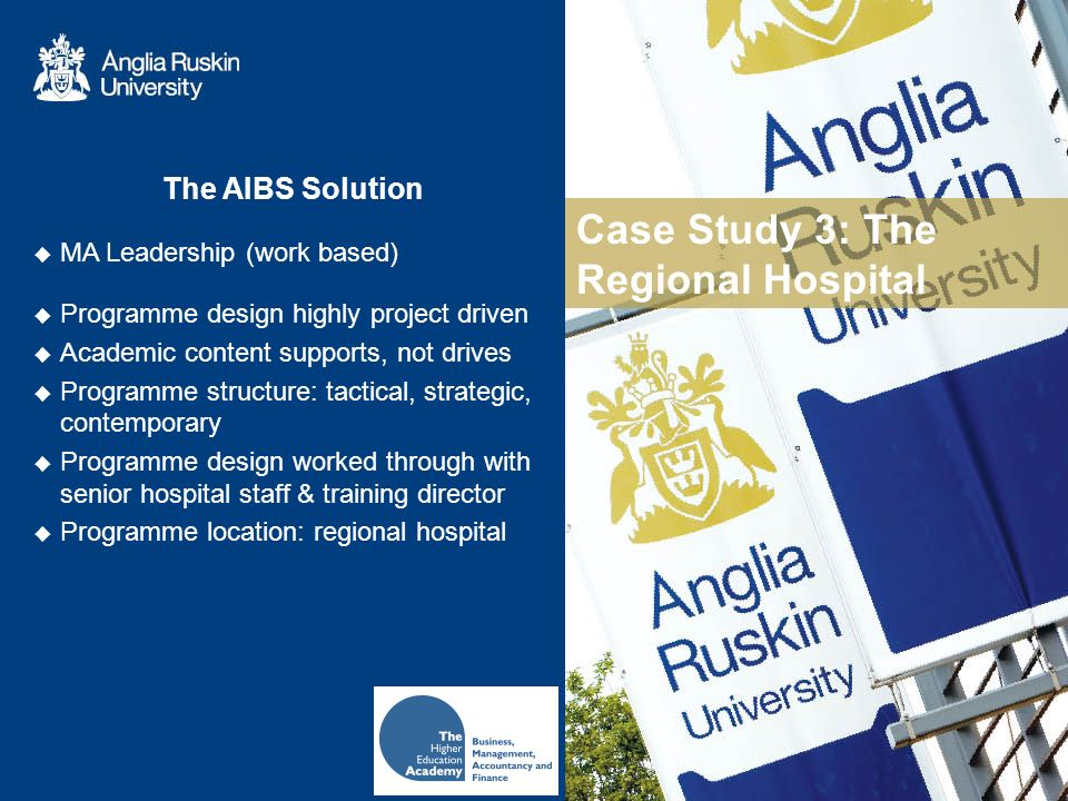 Case Study 3: The Regional Hospital The AIBS Solution MA Leadership (work based) Programme design highly project driven Academic content supports, not drives Programme structure: tactical, strategic, contemporary Programme design worked through with senior hospital staff & training director Programme location: regional hospital