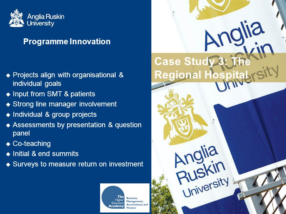 Case Study 3: The Regional Hospital Programme Innovation Projects align with organisational & individual goals Input from SMT & patients Strong line manager involvement Individual & group projects Assessments by presentation & question panel Co-teaching Initial & end summits Surveys to measure return on investment