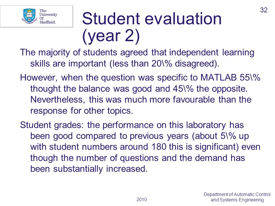 2010 Department of Automatic Control and Systems Engineering Student evaluation (year 2) The majority of students agreed that independent learning ski