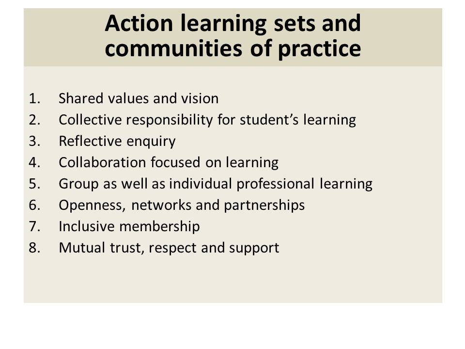 Action learning sets and communities of practice 1.Shared values and vision 2.Collective responsibility for students learning 3.Reflective enquiry 4.Collaboration focused on learning 5.Group as well as individual professional learning 6.Openness, networks and partnerships 7.Inclusive membership 8.Mutual trust, respect and support