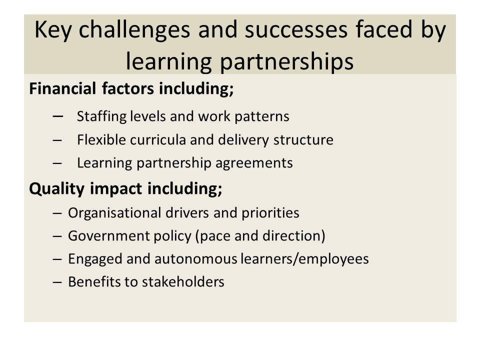Key challenges and successes faced by learning partnerships Financial factors including; – Staffing levels and work patterns – Flexible curricula and