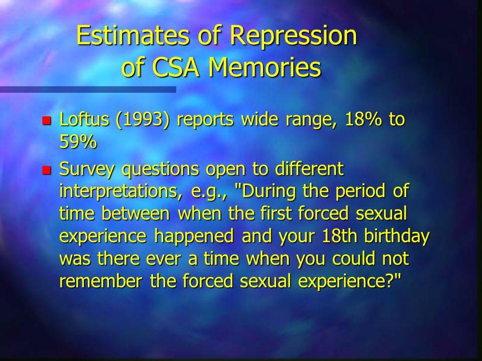 Estimates of Repression of CSA Memories n Loftus (1993) reports wide range, 18% to 59% n Survey questions open to different interpretations, e.g.,