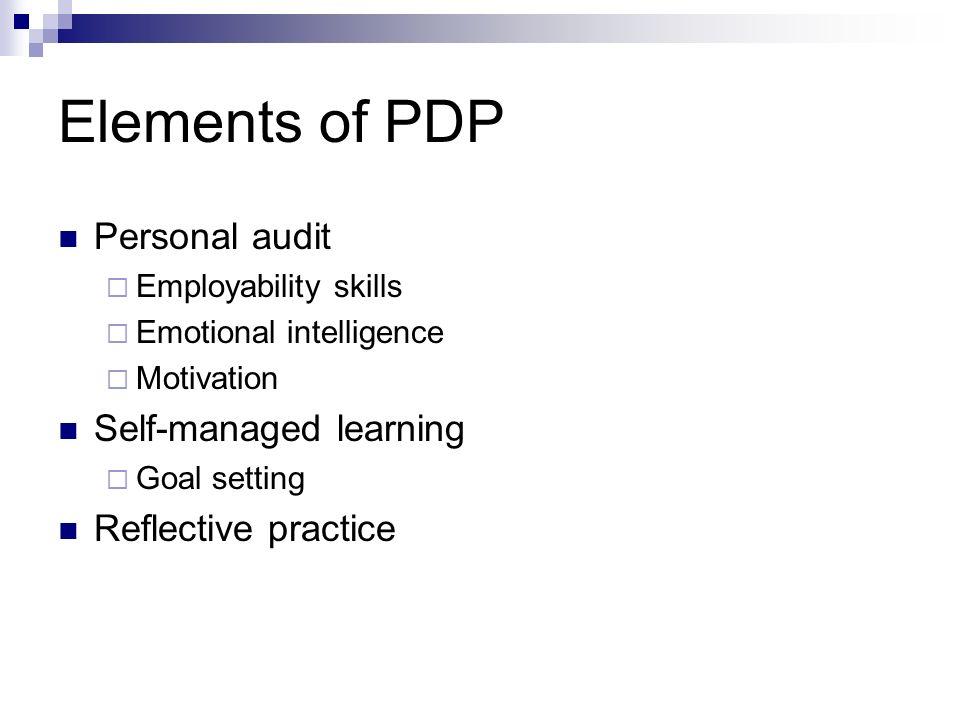 Elements of PDP Personal audit Employability skills Emotional intelligence Motivation Self-managed learning Goal setting Reflective practice