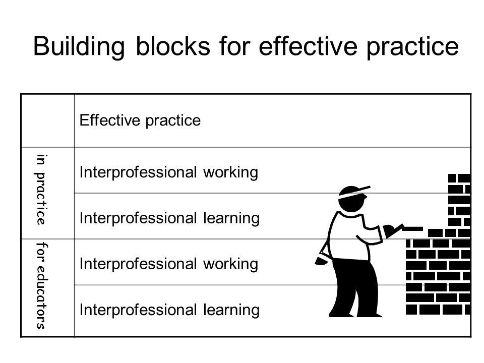 Building blocks for effective practice Effective practice in practice Interprofessional working Interprofessional learning for educators Interprofessi