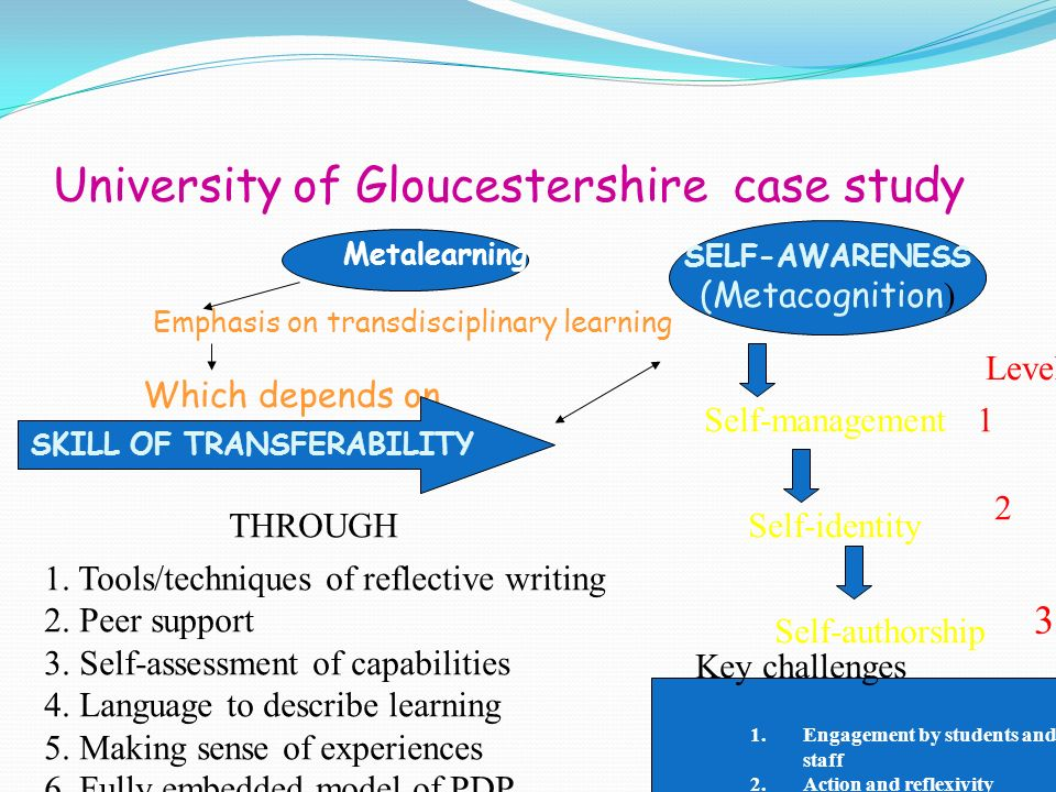 University of Gloucestershire case study Metalearning Emphasis on transdisciplinary learning Which depends on SKILL OF TRANSFERABILITY SELF-AWARENESS (Metacognition ) Self-management 1 Self-identity 2 Self-authorship 3 THROUGH 1.