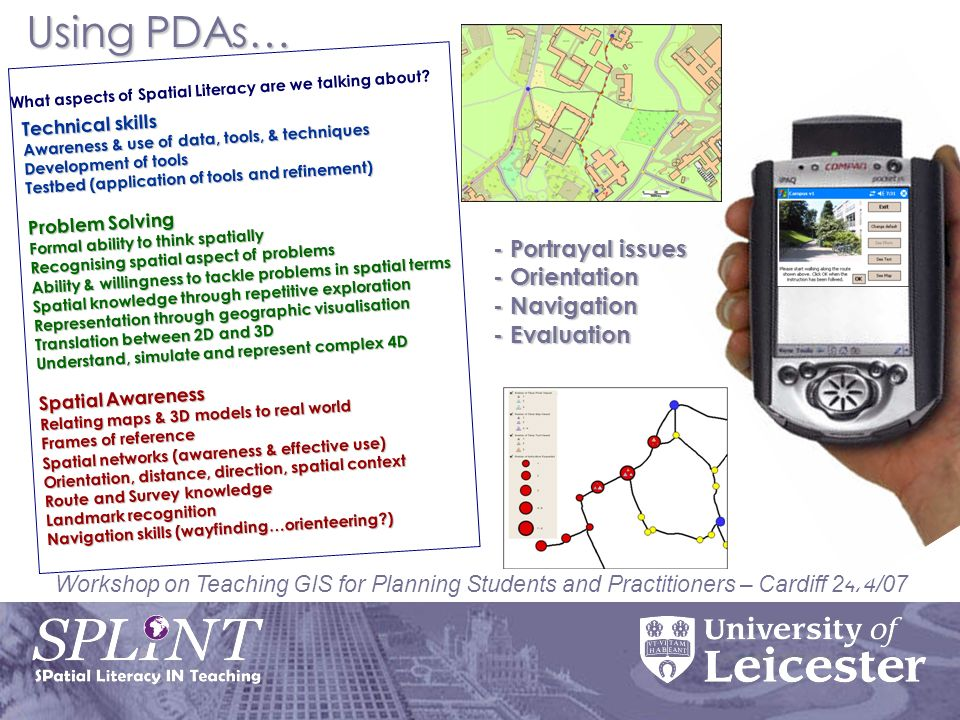 Workshop on Teaching GIS for Planning Students and Practitioners – Cardiff 24/4/07 Technical skills Awareness & use of data, tools, & techniques Development of tools Testbed (application of tools and refinement) Problem Solving Formal ability to think spatially Recognising spatial aspect of problems Ability & willingness to tackle problems in spatial terms Spatial knowledge through repetitive exploration Representation through geographic visualisation Translation between 2D and 3D Understand, simulate and represent complex 4D Spatial Awareness Relating maps & 3D models to real world Frames of reference Spatial networks (awareness & effective use) Orientation, distance, direction, spatial context Route and Survey knowledge Landmark recognition Navigation skills (wayfinding…orienteering ) What aspects of Spatial Literacy are we talking about.