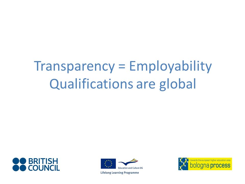 Transparency = Employability Qualifications are global