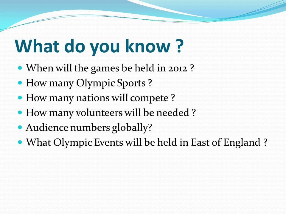 What do you know . When will the games be held in 2012 .