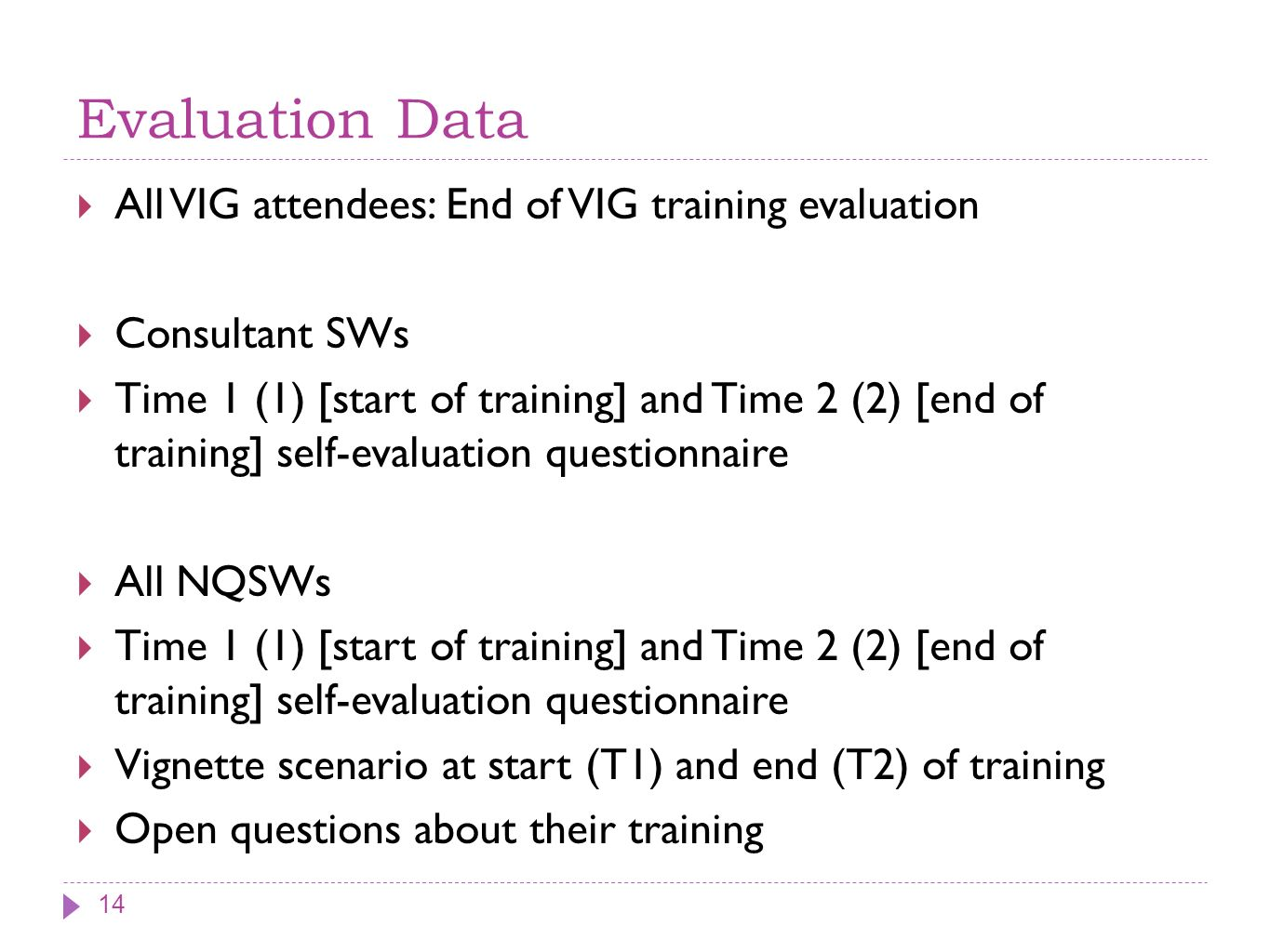 Evaluation Data All VIG attendees: End of VIG training evaluation Consultant SWs Time 1 (1) [start of training] and Time 2 (2) [end of training] self-evaluation questionnaire All NQSWs Time 1 (1) [start of training] and Time 2 (2) [end of training] self-evaluation questionnaire Vignette scenario at start (T1) and end (T2) of training Open questions about their training 14