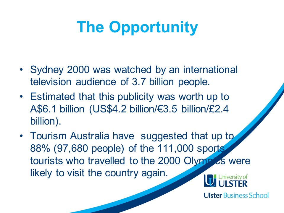 The Opportunity Sydney 2000 was watched by an international television audience of 3.7 billion people.