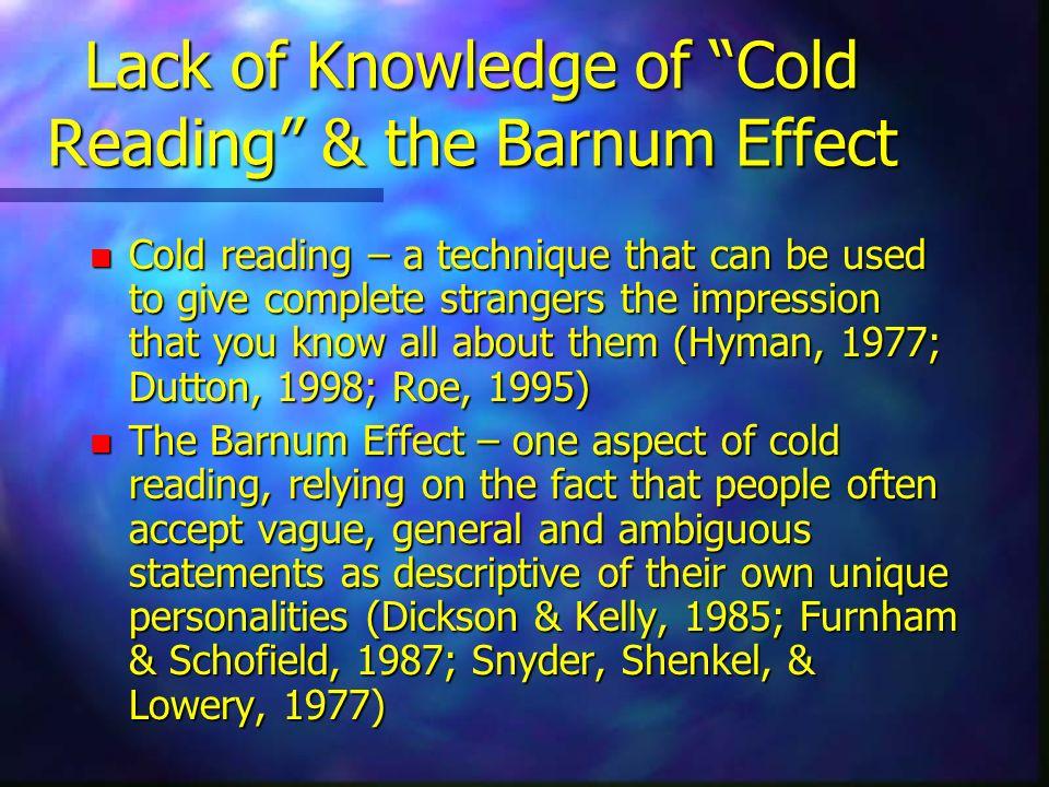 Perceptual Biases n Blackmoore & Moore (1994) n Brugger et al. (1993)