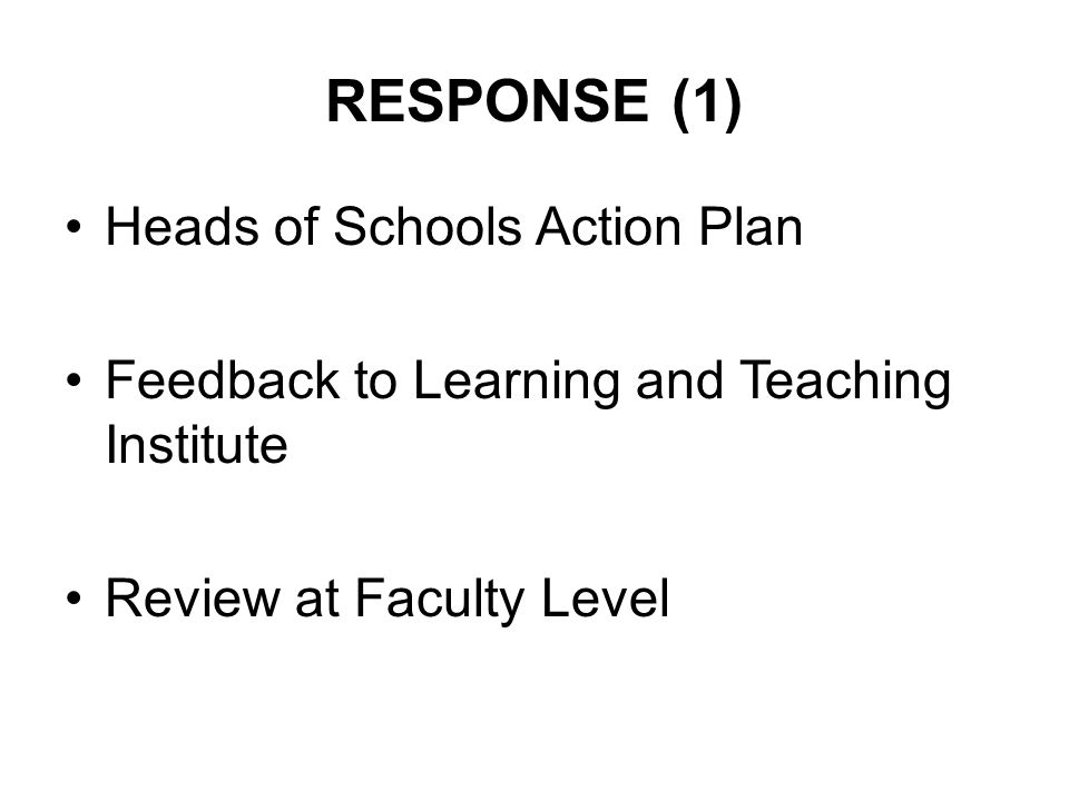RESPONSE (1) Heads of Schools Action Plan Feedback to Learning and Teaching Institute Review at Faculty Level