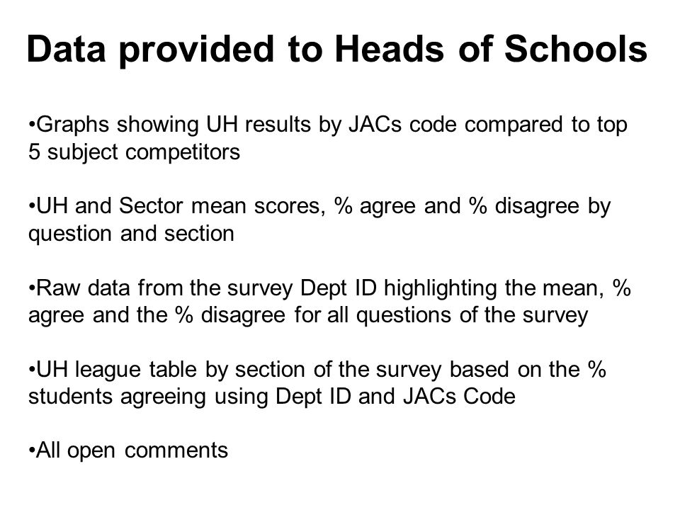 Data provided to Heads of Schools Graphs showing UH results by JACs code compared to top 5 subject competitors UH and Sector mean scores, % agree and % disagree by question and section Raw data from the survey Dept ID highlighting the mean, % agree and the % disagree for all questions of the survey UH league table by section of the survey based on the % students agreeing using Dept ID and JACs Code All open comments