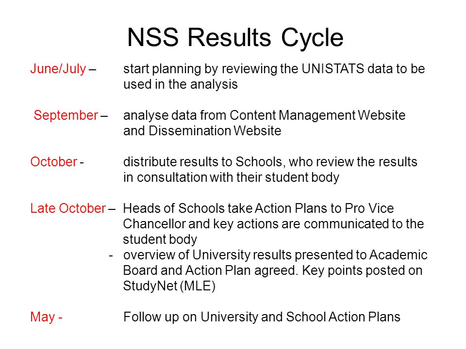 NSS Results Cycle June/July – start planning by reviewing the UNISTATS data to be used in the analysis September – analyse data from Content Management Website and Dissemination Website October - distribute results to Schools, who review the results in consultation with their student body Late October – Heads of Schools take Action Plans to Pro Vice Chancellor and key actions are communicated to the student body - overview of University results presented to Academic Board and Action Plan agreed.