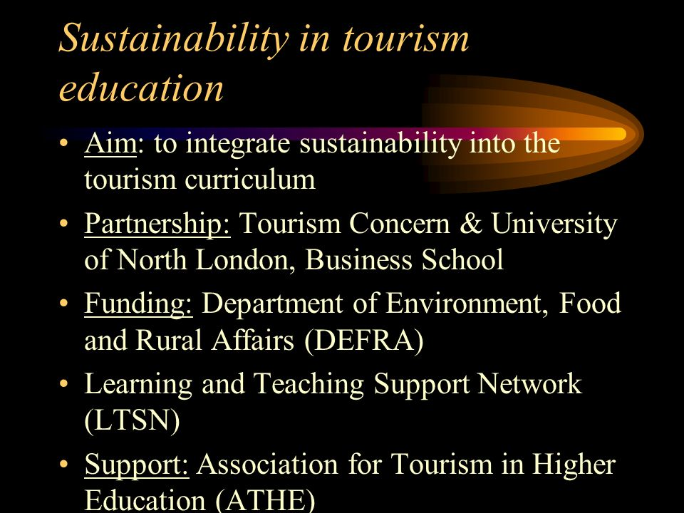 Sustainability in tourism education Aim: to integrate sustainability into the tourism curriculum Partnership: Tourism Concern & University of North Lo