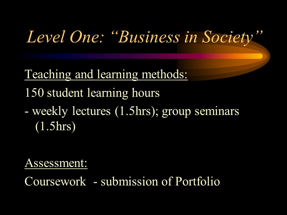 Level One: Business in Society Teaching and learning methods: 150 student learning hours - weekly lectures (1.5hrs); group seminars (1.5hrs) Assessmen