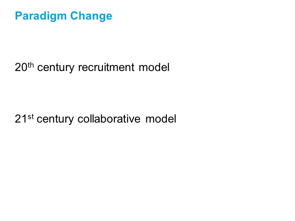 Paradigm Change 20 th century recruitment model 21 st century collaborative model