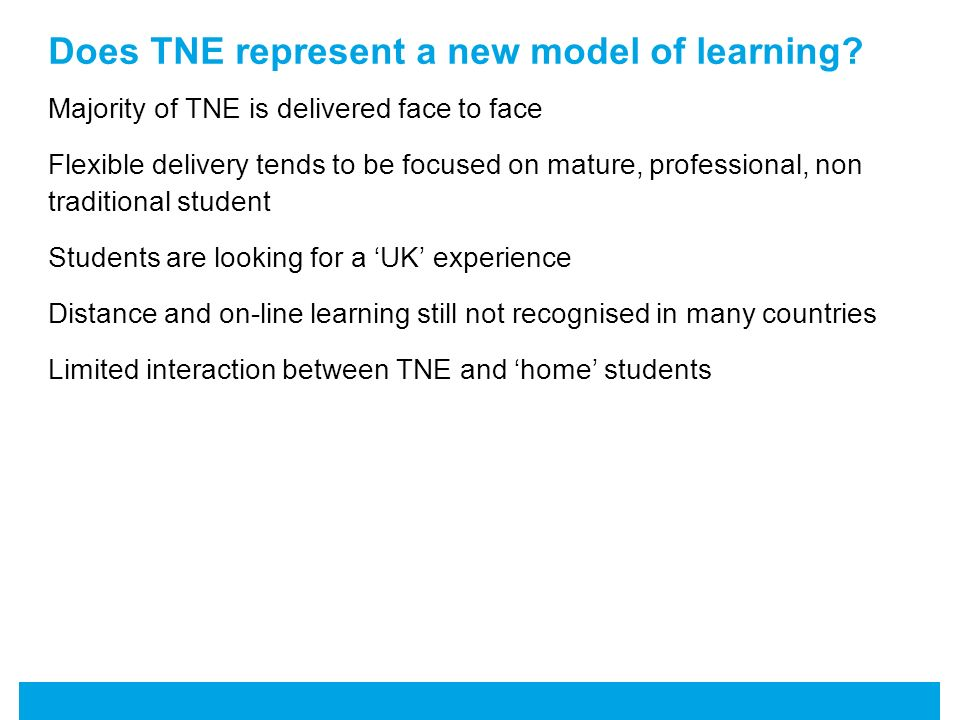 Does TNE represent a new model of learning.