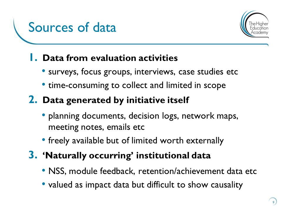 1. Data from evaluation activities surveys, focus groups, interviews, case studies etc time-consuming to collect and limited in scope 2. Data generate