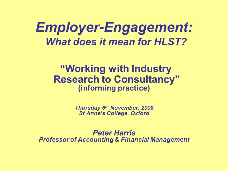Employer-Engagement: What does it mean for HLST.