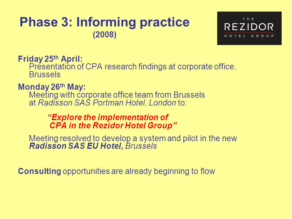 Phase 3: Informing practice (2008) Friday 25 th April: Presentation of CPA research findings at corporate office, Brussels Monday 26 th May: Meeting with corporate office team from Brussels at Radisson SAS Portman Hotel, London to: Explore the implementation of CPA in the Rezidor Hotel Group Meeting resolved to develop a system and pilot in the new Radisson SAS EU Hotel, Brussels Consulting opportunities are already beginning to flow