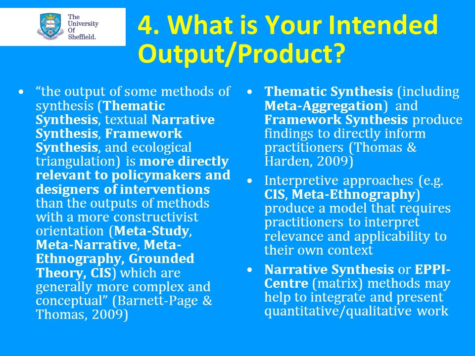 4. What is Your Intended Output/Product? the output of some methods of synthesis (Thematic Synthesis, textual Narrative Synthesis, Framework Synthesis