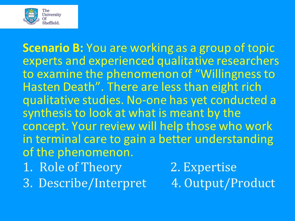 Scenario B: You are working as a group of topic experts and experienced qualitative researchers to examine the phenomenon of Willingness to Hasten Dea