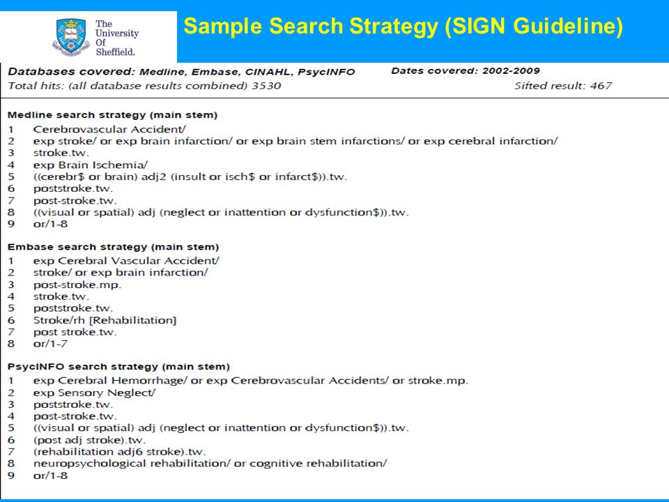 Sample Search Strategy (SIGN Guideline)
