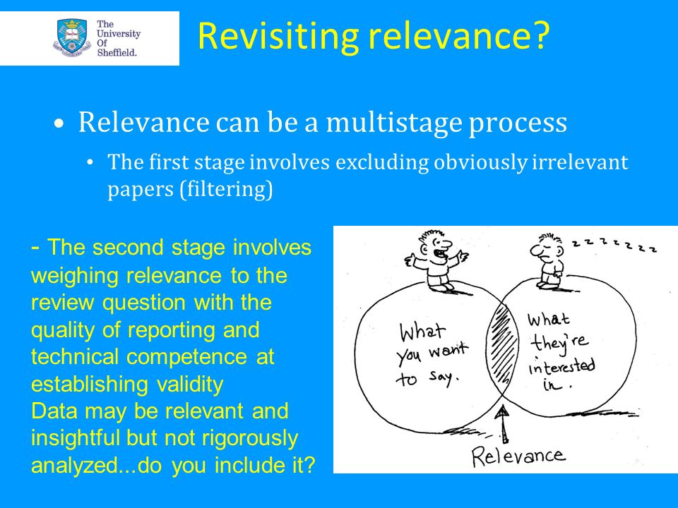 Revisiting relevance? Relevance can be a multistage process The first stage involves excluding obviously irrelevant papers (filtering) - The second st