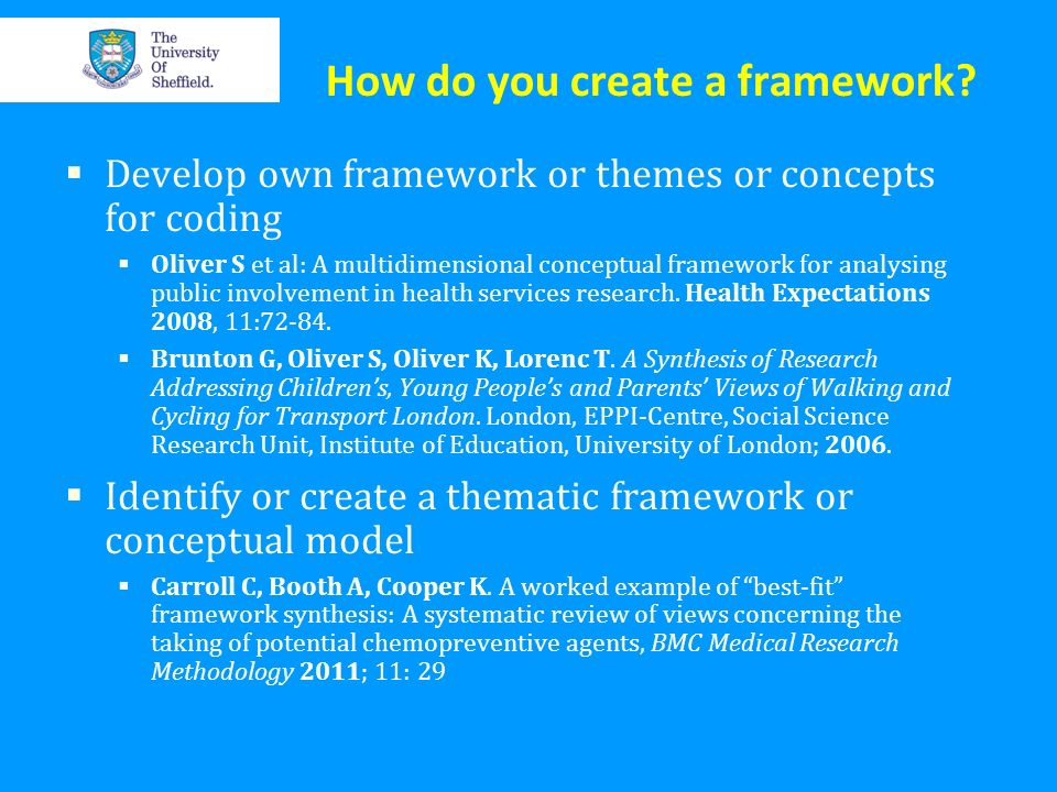 How do you create a framework? Develop own framework or themes or concepts for coding Oliver S et al: A multidimensional conceptual framework for anal