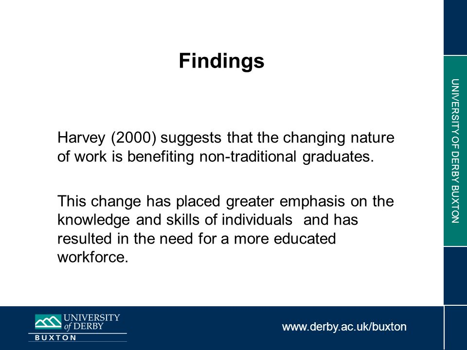 www.derby.ac.uk/buxton UNIVERSITY OF DERBY BUXTON Findings Harvey (2000) suggests that the changing nature of work is benefiting non-traditional gradu
