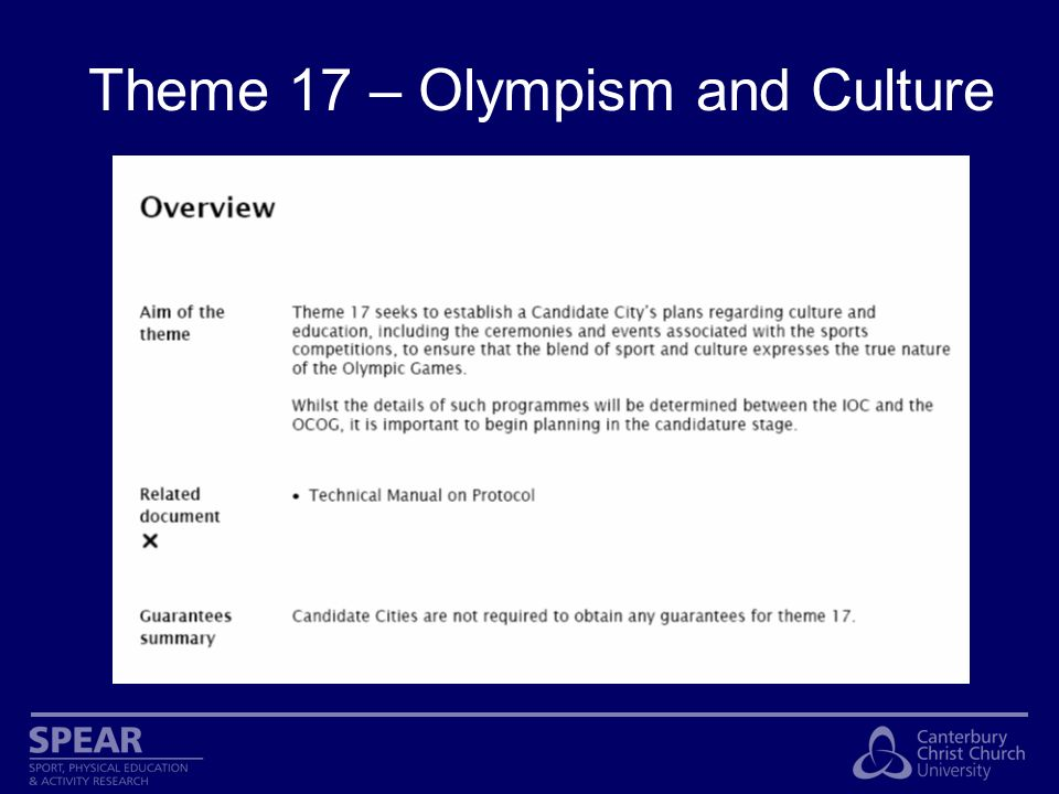 Theme 17 – Olympism and Culture